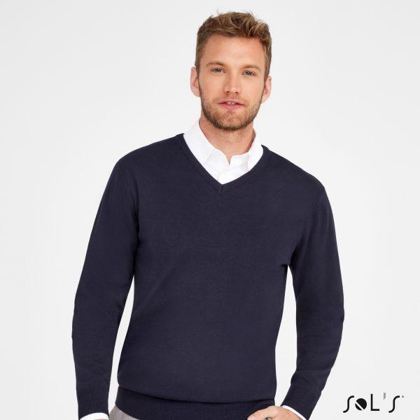 Vīriešu džemperis ar V-veida kakla griezumu