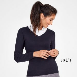 Sieviešu džemperis ar V-veida kakla griezumu