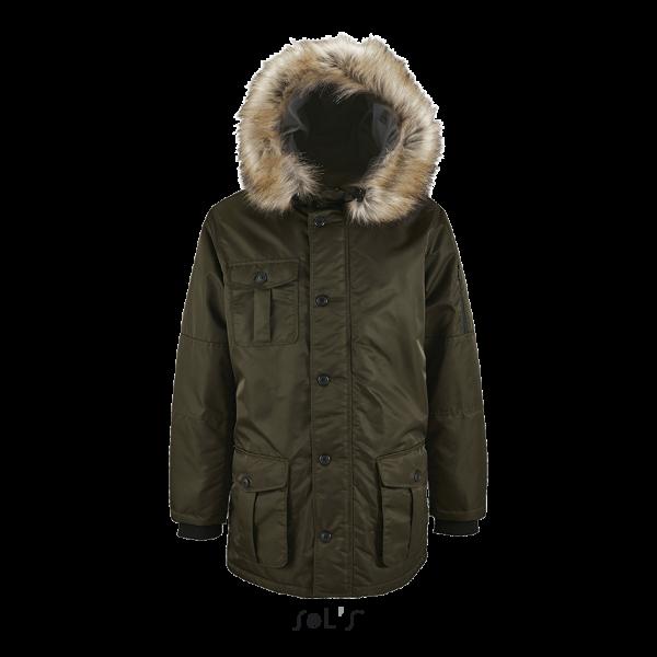 Vīriešu ziemas jaka ar dekoratīvu kapuci
